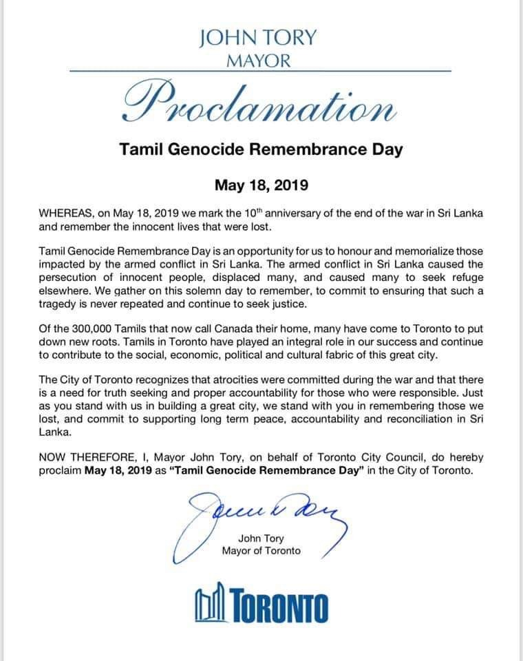 Tamil Genocide Remembrance Day by Mayor of Toronto John Tory