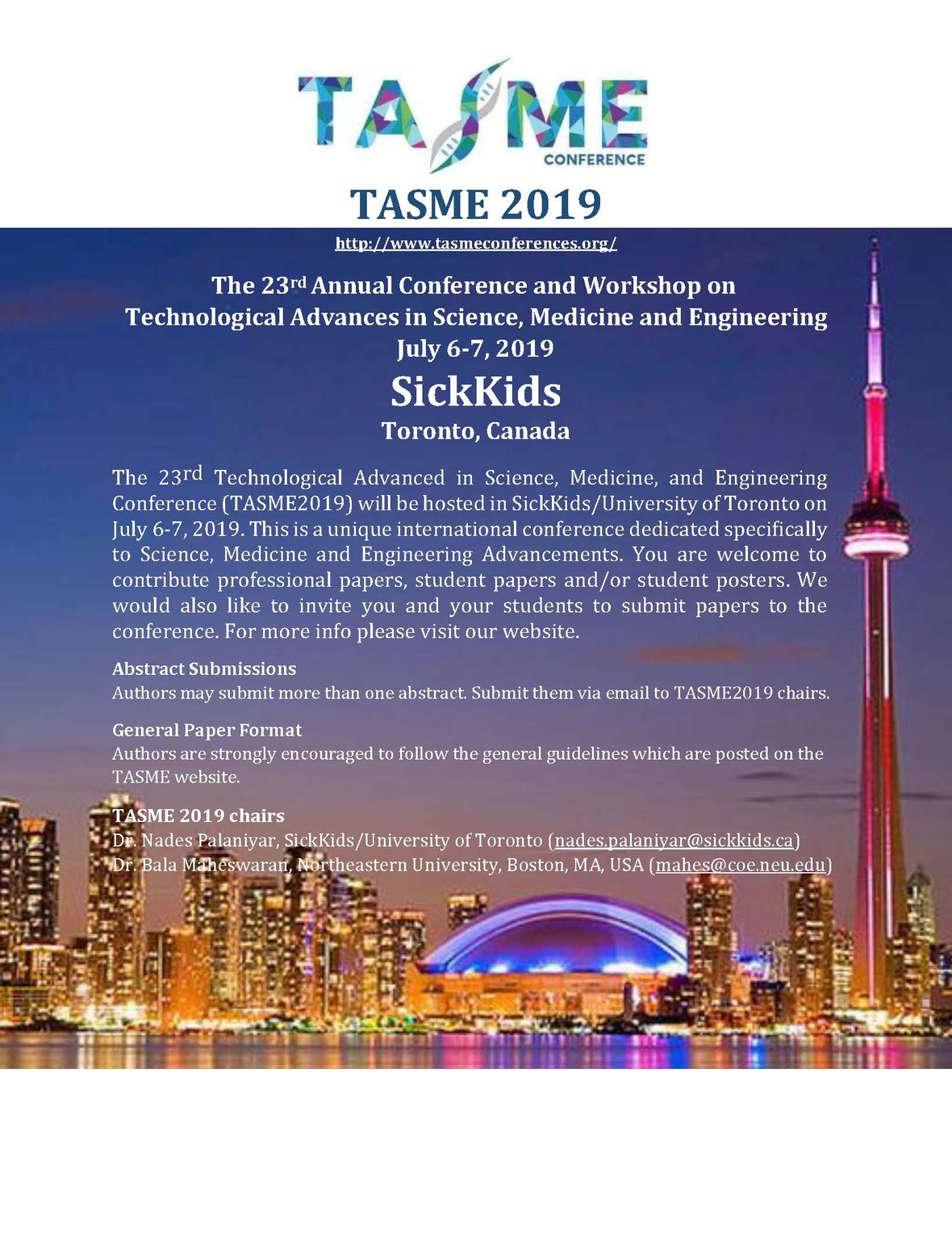 TASME2019 Conference – on July 6-7 at SickKids/University of Toronto2 √ / Inbox
