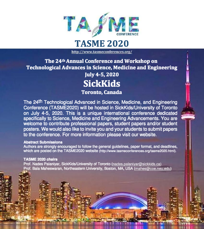 TASME2020 Conference – on July 4-5 at SickKids/University of Toronto2