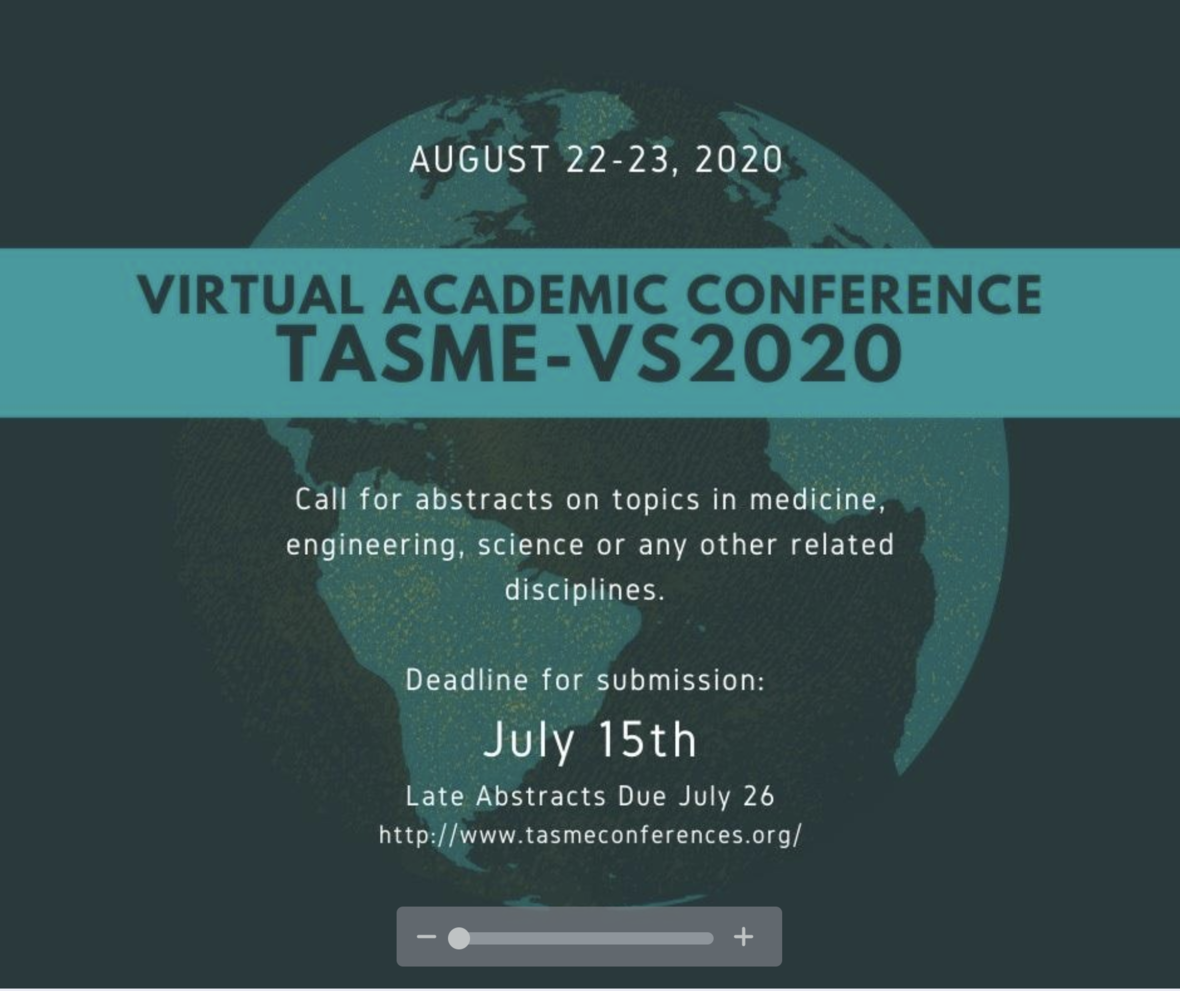 TASME'S Virtual SYMPOSIUM will be hosted ONLINE on August 22-23, 2020