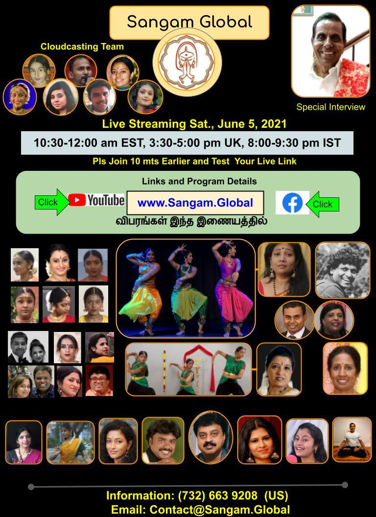 Sangam Global: Live Streaming Saturday June 5, 2021; 10:30 to 12:00 am EST